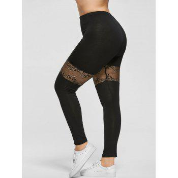 Plus Size Lace Insert Sport Leggings - BLACK 2XL