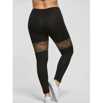 Plus Size Lace Insert Sport Leggings - BLACK BLACK