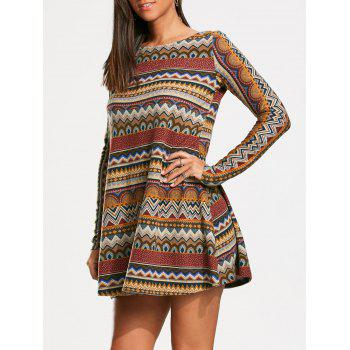 Bohemia Print Long Sleeve Tunic Dress - COLORMIX M