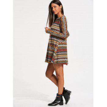 Bohemia Print Long Sleeve Tunic Dress - M M