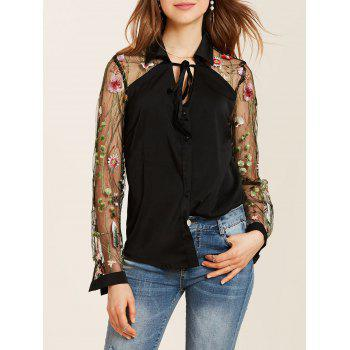 Long Sleeve Flower Embroidered Lace Insert Shirt