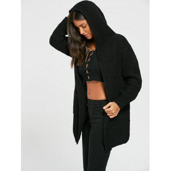 Open Front Back Lace Up Hooded Cardigan - BLACK BLACK