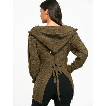 Open Front Back Lace Up Hooded Cardigan - ONE SIZE ONE SIZE