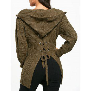 Open Front Back Lace Up Hooded Cardigan - ARMY GREEN ONE SIZE