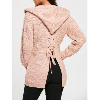 Open Front Back Lace Up Hooded Cardigan
