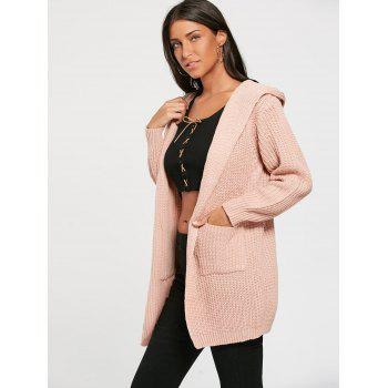 Cardigan à capuche à lacets - Rose Clair ONE SIZE