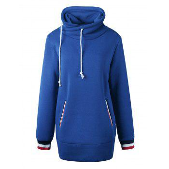 Long Mock Neck Pocket Drawstring Hoodie