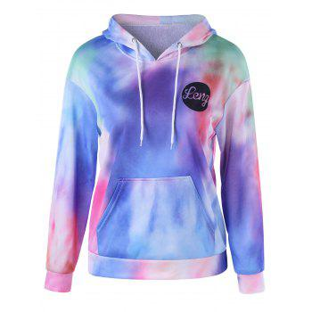 Tie Dye Kangaroo Pocket Graphic Hoodie - COLORMIX L