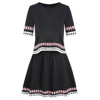 Striped Graphic Knit Two Piece Dress