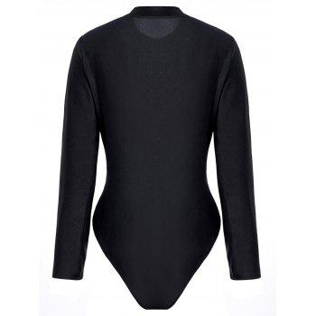 Plus Size Embroidered Long Sleeve Swimsuit - BLACK 4XL