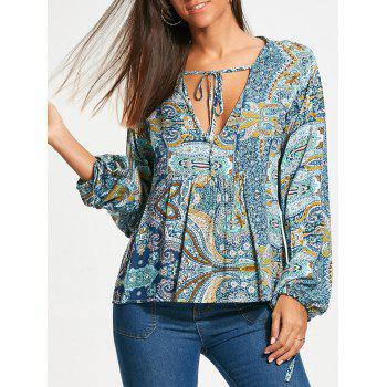 Long Sleeve Low Cut Paisley Smock Blouse