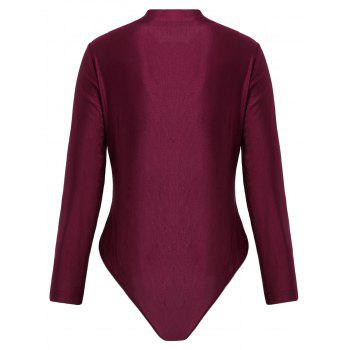 Plus Size Embroidered Long Sleeve Swimsuit - WINE RED XL