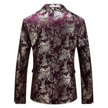 Floral Gilding Flap Pocket Blazer - WINE RED 58