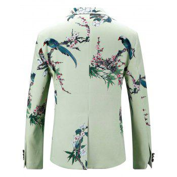 Vintage Floral Print Flap Pocket Blazer - LIGHT GREEN 50