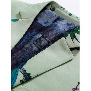 Vintage Floral Print Flap Pocket Blazer - LIGHT GREEN 54