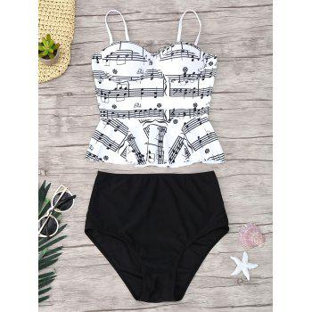 Musical Notes Print Peplum Tankini Set