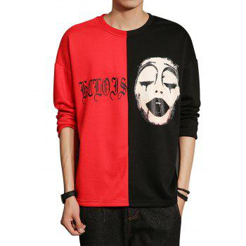 Graphic Grimace Print Color Block Panel T-shirt - COLORMIX XL