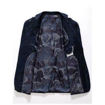 Abstract Print Flap Pocket Blazer - PURPLISH BLUE 54