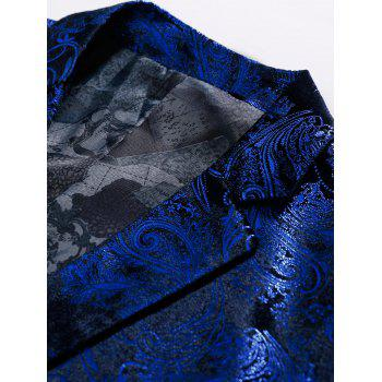 Floral Gilding Flap Pocket Blazer - ROYAL 58