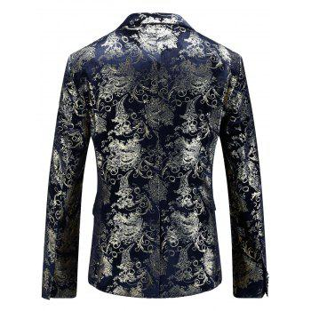 Floral Gilding Flap Pocket Blazer - PURPLISH BLUE 50