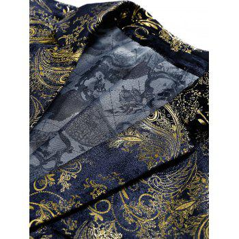 Floral Gilding Flap Pocket Blazer - PURPLISH BLUE 54