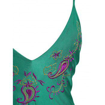 Paisley Embroidered Plus Size Swimsuit - 3XL 3XL