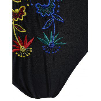 Embroidered Plus Size Crossback Swimsuit - BLACK 3XL