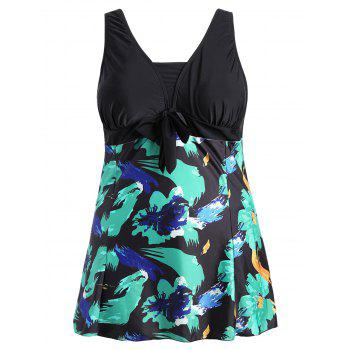 Bow Tied Plus Size Skirted Swimsuit - COLORMIX XL