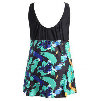 Bow Tied Plus Size Skirted Swimsuit - COLORMIX 4XL