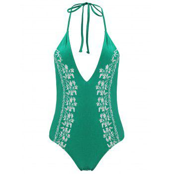 Halter Plus Size Embroidered Swimsuit - GREEN XL