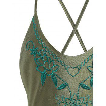 Plus Size Crossback Embroidered Swimsuit - PEARL ARMY GREEN 3XL