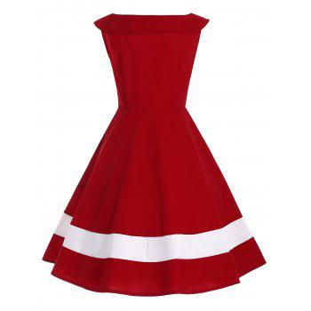 Bowknot Decorated Color Block Sleeveless Vintage Dress - L L