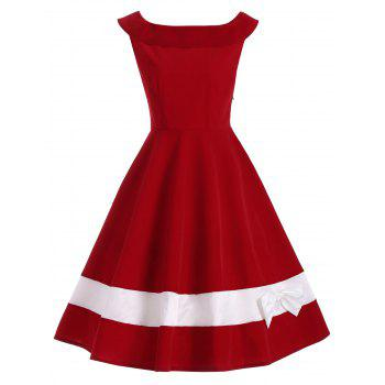 Bowknot Decorated Color Block Sleeveless Vintage Dress - DEEP RED L