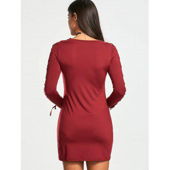 Lace Up Long Sleeve Bodycon Mini Dress - WINE RED S