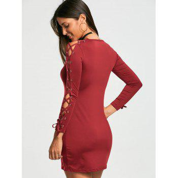 Lace Up Long Sleeve Bodycon Mini Dress - WINE RED L