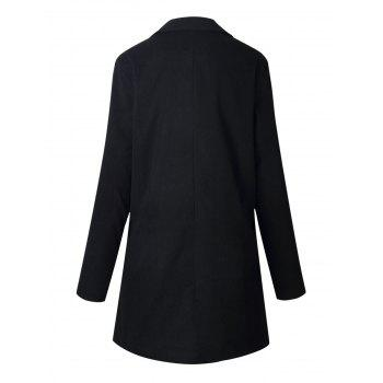 Slim Fit Long Lapel Blazer - BLACK BLACK