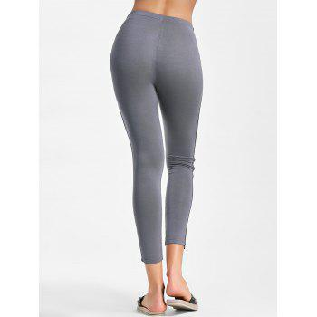 Single Stripe Skinny Workout Leggings - GRAY GRAY