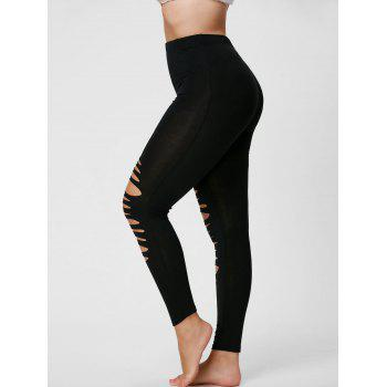 Plus Size Ripped Fitted Leggings - BLACK XL