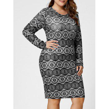 Plus Size Monochrome Long Sleeve Tight Dress