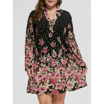 Plus Size Floral Sheer Long Sleeve Dress