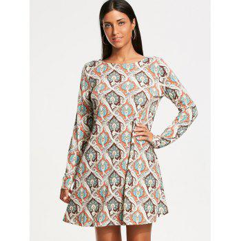 Vintage Print Long Sleeve Tunic Dress - M M