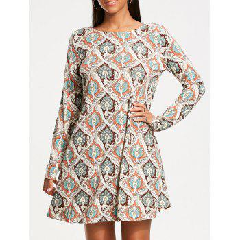 Vintage Print Long Sleeve Tunic Dress - COLORMIX M