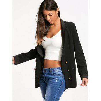Back Slit Lapel Blazer with Double Breasted - BLACK L