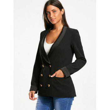 Back Slit Lapel Blazer with Double Breasted - BLACK BLACK