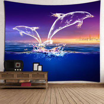 Wall Hanging Transparent Dolphin Printed Tapestry - COLORMIX W91 INCH * L71 INCH