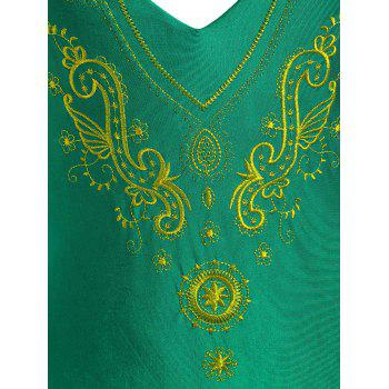 Cross Back Plus Size Embroidered Swimsuit - GREEN 2XL