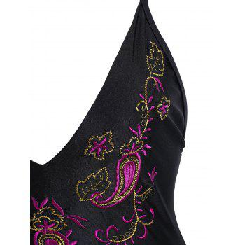Paisley Embroidered Plus Size Swimsuit - BLACK BLACK