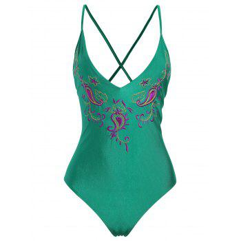 Paisley Embroidered Plus Size Swimsuit - GREEN GREEN
