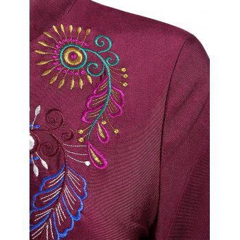 Plus Size Embroidered Long Sleeve Swimsuit - WINE RED 3XL