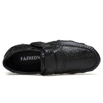 Embossed Stitching Slip On Casual Shoes - BLACK 44